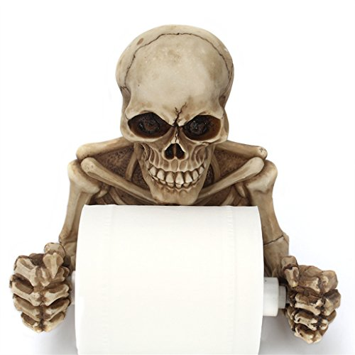 Fairysu Toilet Paper Holder Bone Dry Halloween Skeleton Bathroom Decor Roll Wall (Skeleton TP Holder, grey-yellow)