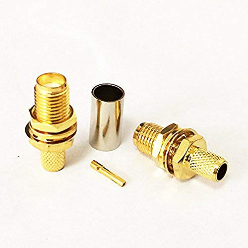 Gimax 2Pcs SMA Female Jack RF Coax Connector with Nut Crimp for RG58,RG142,LMR195 Goldplated ()