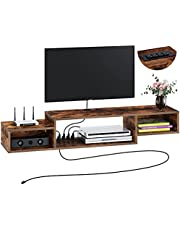 """Rolanstar Wall Mounted Media Console with Power Outlet 51"""", Rustic Floating TV Stand Component Shelf, Entertainment Storage Shelf for Living Room, Rustic Brown"""