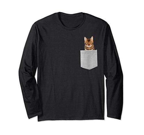 Unisex Bengal Cat In Your Pocket Long Sleeve Shirt Large Black