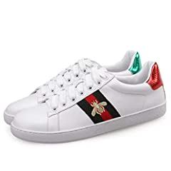Embroidered Sneakers Unisex Casual Classic Fashion Shoes White.