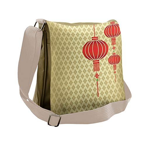 Ambesonne Lantern Messenger Bag, Chinese Baroque Pattern, Unisex Cross-body ()