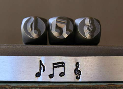 Brand New 6mm Eighth Bar, Double Bar & G Clef Music Note Metal Punch Design 4 Stamp Set - Supply Guy - CH-206207213