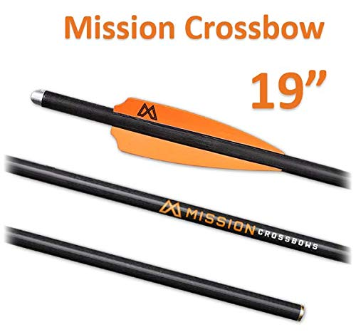 Mission Crossbow 19 Inch Bolts| Hunting Arrows/Bolts | SUB-1 XR Crossbow Arrow 3 PK | Archery 100% Carbon Shaft Arrow | Optimized for All Mission Crossbows | 300 Grain | Metal Nocks