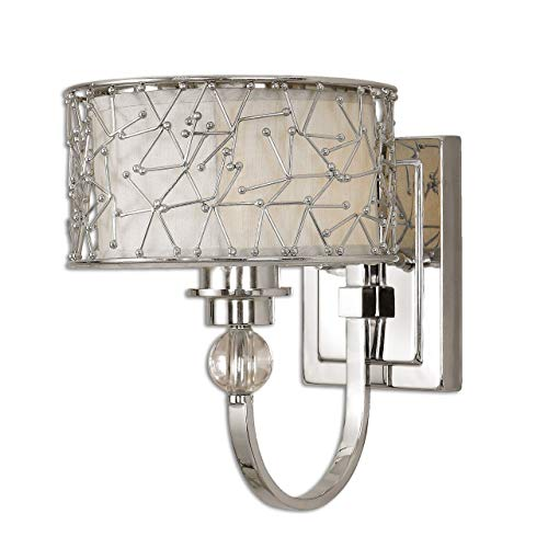 Uttermost 22484 Brandon 1-Light Wall Sconce, Nickel Plated Metal (Brandon Furniture Stores)
