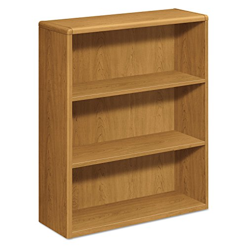 HON 10753CC 10700 Series Wood Bookcase, Three Shelf, 36w x 13 1/8d x 43 3/8h, Harvest - Table Harvest Trestle