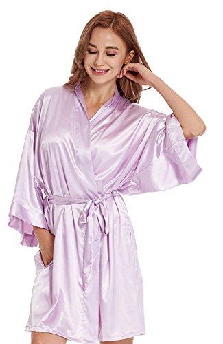 912239b002 TIMSOPHIA Women Robes Pure Colour Short Kimono Robes Silk ...