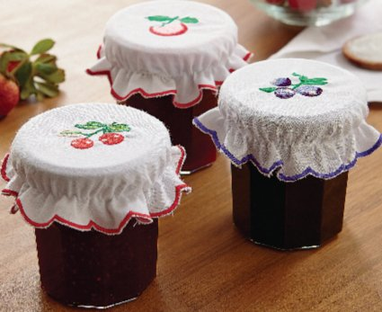 MySmartBuy Set Of 3 Cotton Jam Jar Covers Embroidered Kitchen Fits 6cm To 10cm Diameter