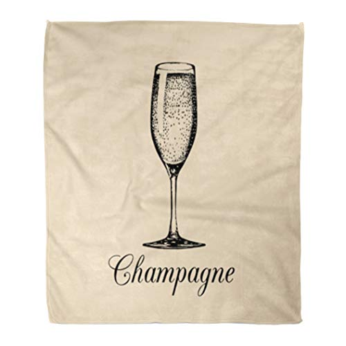 (Golee Throw Blanket Champagne Glass Sketch of Spumante Alcoholic Drink White Sparkling Wine 50x60 Inches Warm Fuzzy Soft Blanket for Bed Sofa)