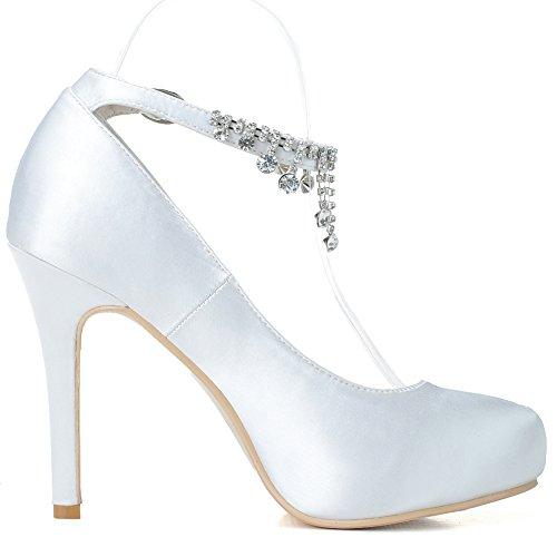Bianco Alti Donne Tacchi Caviglia Cinghia Delle Della Scarpe Cristallo Satinato Rotonda Matrimonio Punta Elegante Loslandifen 76dU5qwd
