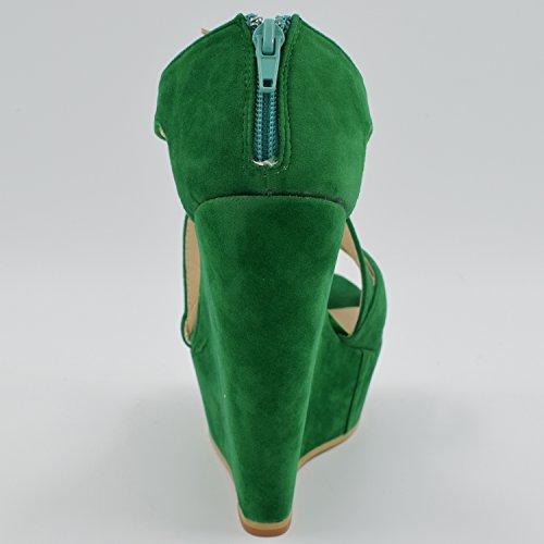 Oasap Damen Exklusiv Knöchelriemen Plattform Offen Keilabsätzen Sandalen Green