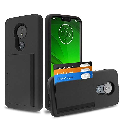 Bemz Pocket Series Compatible with Moto G7 Power, Moto G7 Supra Slim Wallet Dual Layer Hybrid Case with 3 Card Holder Hidden Storage Compartment and Atom Cloth - Black ()