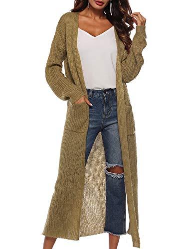 Women's Classic Causal Sweater Jersey Fabric Long Cardigan Khaki