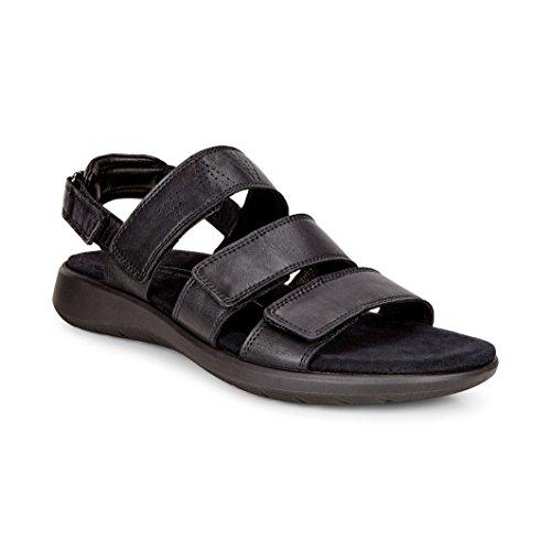 ECCO Women's Women's Soft 5 3-Strap Flat Sandal, Black, 41 EU/10-10.5 M US