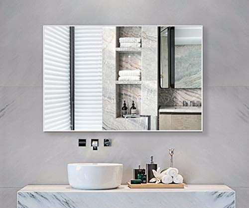 Hans &Alice Bathroom Mirrors Wall Mounted, Modern White Frame Mirror for Bathroom, - Bathroom Commercial White Mirrors