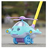 Aircraft Push Pull Activity Walking Toy Along Toy for Baby Toddler Walker Toy (Blue)