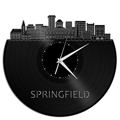 VinylShopUS - Springfield IL Vinyl Wall Clock City Skyline Unique Gift for Office Home | Room Decoration -