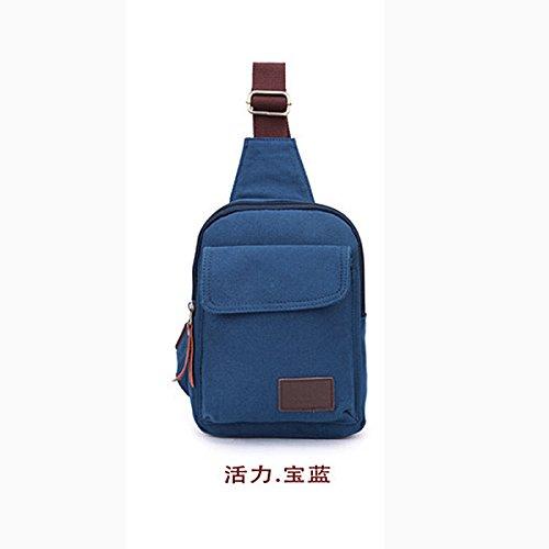 Meoaeo Bolsos Para Hombres Promociones Men'S Chest Packs Moda Coreana Bolsas Exteriores Equitación Hombro Oblicuo Caqui Blue