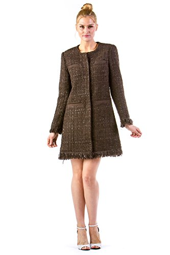 - VERTIGO PARIS Women's Tweed Fringe Boucle Wool Blend Coat - Black Coffee - Medium