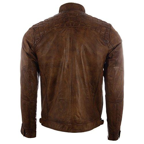 Vera Uomo Motociclista In Giacca Disegno Da Sulle Pelle Spalle Con Marrone Diamante A 44t9 Antico Aviatrix 1qnxtX1