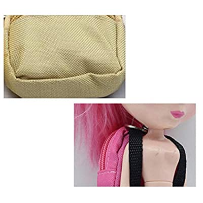 Doll Backpack Cute Creative Canvas Mini Doll Bag Doll Accessories for Dolls Blue: Clothing