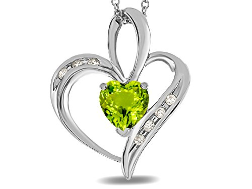 Genuine Peridot Heart Pendant - Star K Heart Shape 6mm Genuine Peridot Pendant Necklace 14 kt White Gold