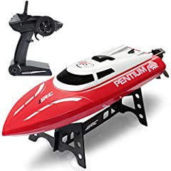Description Make waves with the all-new RC Remote controlled boat.  Loaded with a host of features, this bad boy is ready to compete with all RC boats out there.  With a top speed of 25 km/hr, 180-degree cool flips, waterproof body, and a sma...