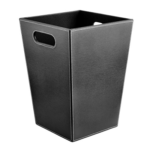 XSHION PU Leather Trash Can,Wastebasket Paper Basket Garbage Can Without Lid for Living Room,Kitchen, Office - Black Square