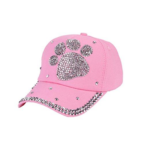 HTHJSCO Children Outdoor Sports Star Shaped Bling Baseball Hiking Cap (Pink)