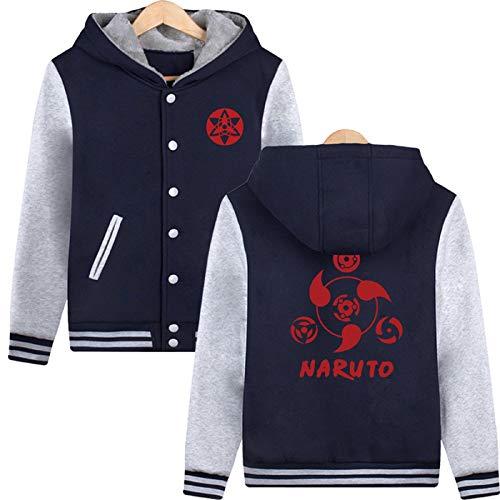 ELEFINE Boys Men's Fleece Thick Hoodies Naruto Cosplay Uchiha Sasuke Mangekyo Sharingan Button Jacket Navy&Gray XS