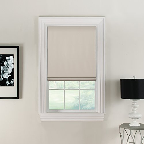 "Flat Roman Shade - Linen & Polyester Fabric- Blackout Backing, Thermal, Cordless- 26"" W x 64"" L, Ivory Modern Roman Shade"