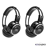 Pair of Two Channel Folding Adjustable Universal Rear Entertainment System Infrared Headphones With 2 Additional 48' 3.5mm Auxiliary Cords Wireless IR DVD Player Head Phones for in Car TV Video Audio Listening