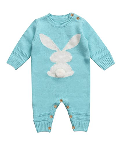 Knitted Rabbit (Autumn Winter Newborn Baby Boy Girl Knitted Rabbit Romper Long Sleeve Bunny Warm Jumpsuit Playsuit Pajamas Outfit (6-12 Months, Blue))