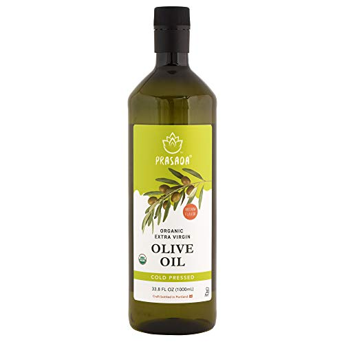 Prasada Extra Virgin Olive Oil, Organic (1,000ml) -Cold Pressed, Non-GMO, BPA-Free Food-Grade Plastic Bottle | Excellent for Stir-Frying, Sauteing and Dressings