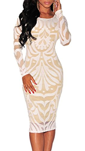 Walking Illusion Costumes (Usme Women's Lace Nude Illusion See Through Sleeves Bodycon Dress)