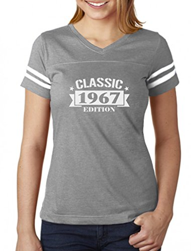 Classic 1967 Edition Funny 50th Birthday Women Football Jersey T-Shirt Medium gray/white (50th Birthday Gifts For Wife)
