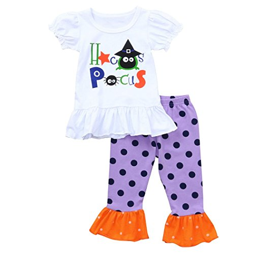 First Halloween Baby Girl 2pcs Set Outfit Tops+Dots Ruffle Pants Toddler Costumes Clothes (18-24 Months, White)