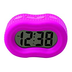 Timelink Smartlight Digital Rubber Outer Shell Alarm Clock for Bedrooms Travel, for Kids Girls, Simple Operation, Automatic Green Smart Night Light Dimmer, Large 1 Display, Snooze, Small, Pink