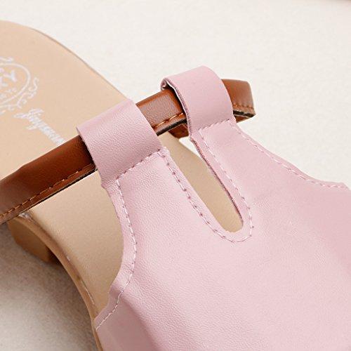 Top-Sell 2017 Verano Moda Baja Muffin Heel Tobogán Deslizamiento En Zapatilla Mujer Sandalias Mocasines Rosa