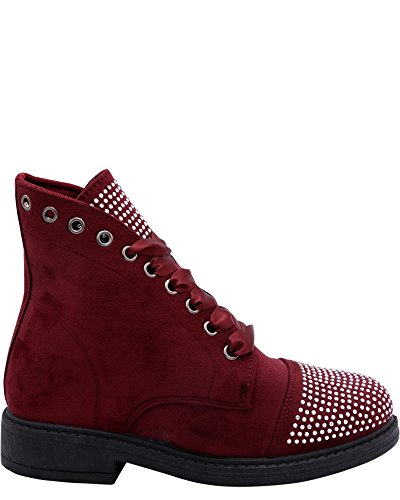 Gnd Fashion Womens Womens Lace Up Rhinestone Military Boot (Available in 2 Colors) Burgundy 3E0iIvc