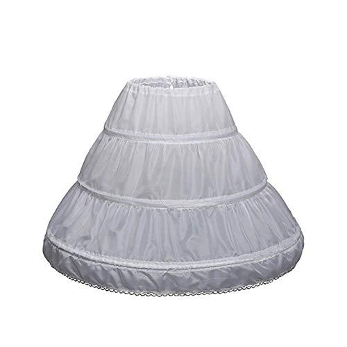 NANWUJI Girls' 3 Hoops Petticoat Full Slip Flower Girl Crinoline Skirt White Underwear for 7-13 Years