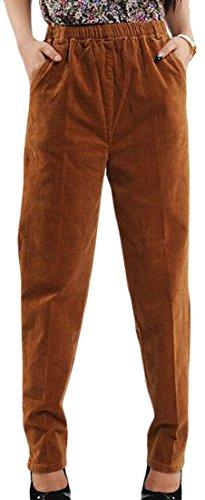 Cruiize Women's Casual Elastic Waist Stretch Plus Size Corduroy Pants Light Tan 3X-Large
