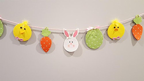 Happy Easter Chick (Happy Easter Egg Chick and Bunny Decorative Felt Banner Garland with Accents)