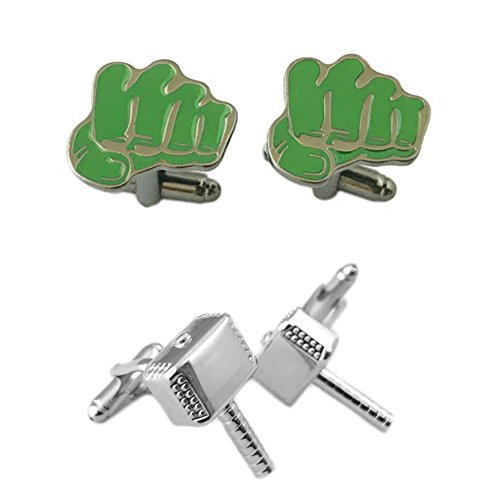 Outlander Gear Marvel Comics 2 Pairs Hulk & Thor Silver Hammer Superhero 2018 Movie Mens Boys Cufflinks by Outlander Gear