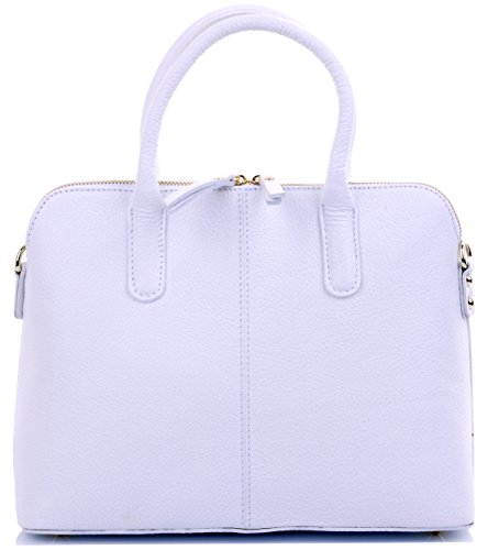 Primo Sacchi Italian Textured White Leather Bowling Style Tote Grab Bag or Shoulder Bag - Leather Textured White