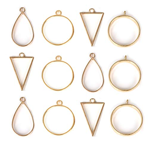 DROLE 40Pcs Open Back Bezel Pendants Assorted Geometric Hollow Frame Pendant Blanks for DIY Resin Crafts Gold - Gold Bezel Plain