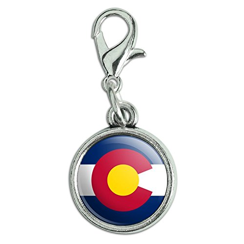 (Antiqued Bracelet Pendant Zipper Pull Charm with Lobster Clasp State Flag - Colorado State Flag)