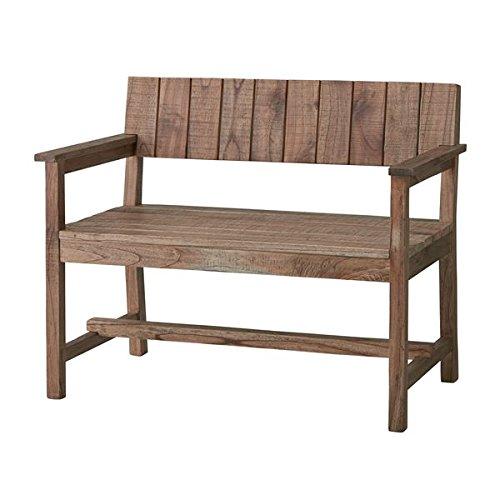 天然木ベンチ椅子 ガーデンベンチ 【幅100cm】 背もたれ 肘付き ビンテージ調 B0778GZ5MS