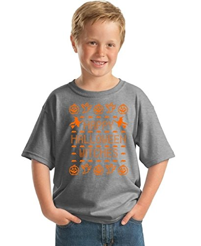 Youth Halloween Shirt Happy Halloween Witches Costume For Kids T-shirt M Gray (Hocus Pocus Witch Childrens Costume)
