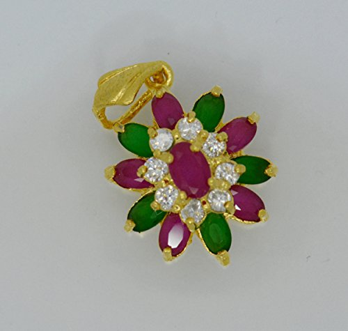 Gorgeous 22k Yellow Gold Plated Gp Women Gorgeous Pendant Cz AAA Syn Siamese Ruby Emerald Flower ()